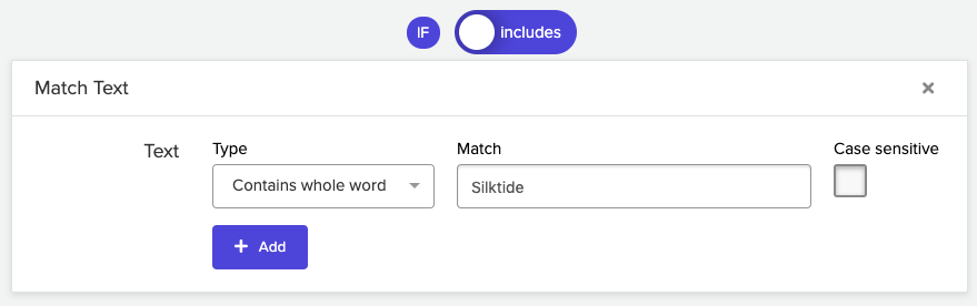 Example simple text match in Silktide policy editor