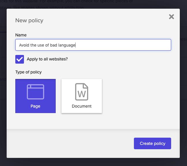 New custom policy modal