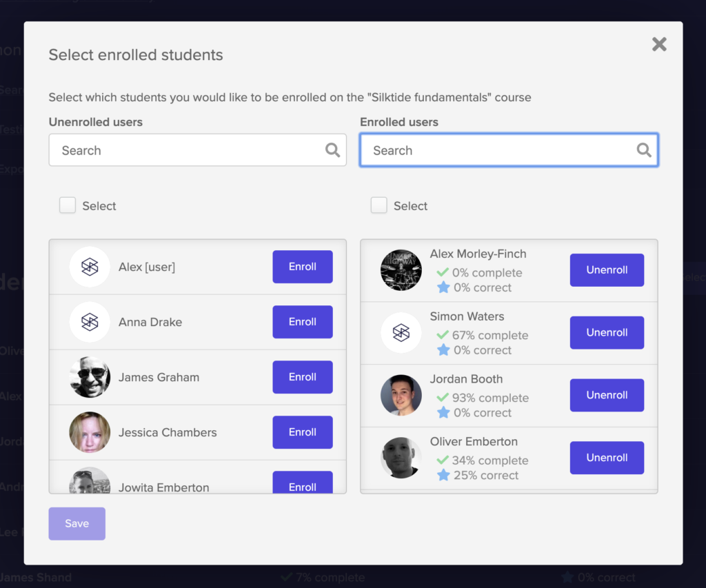 Window allowing users to enrol other users on a course.